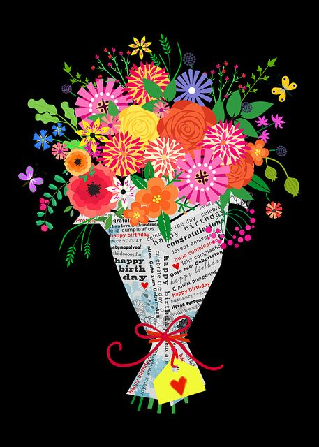 Flowers In Coffeepot Happy Birthday Dear Friend Happy Birthday