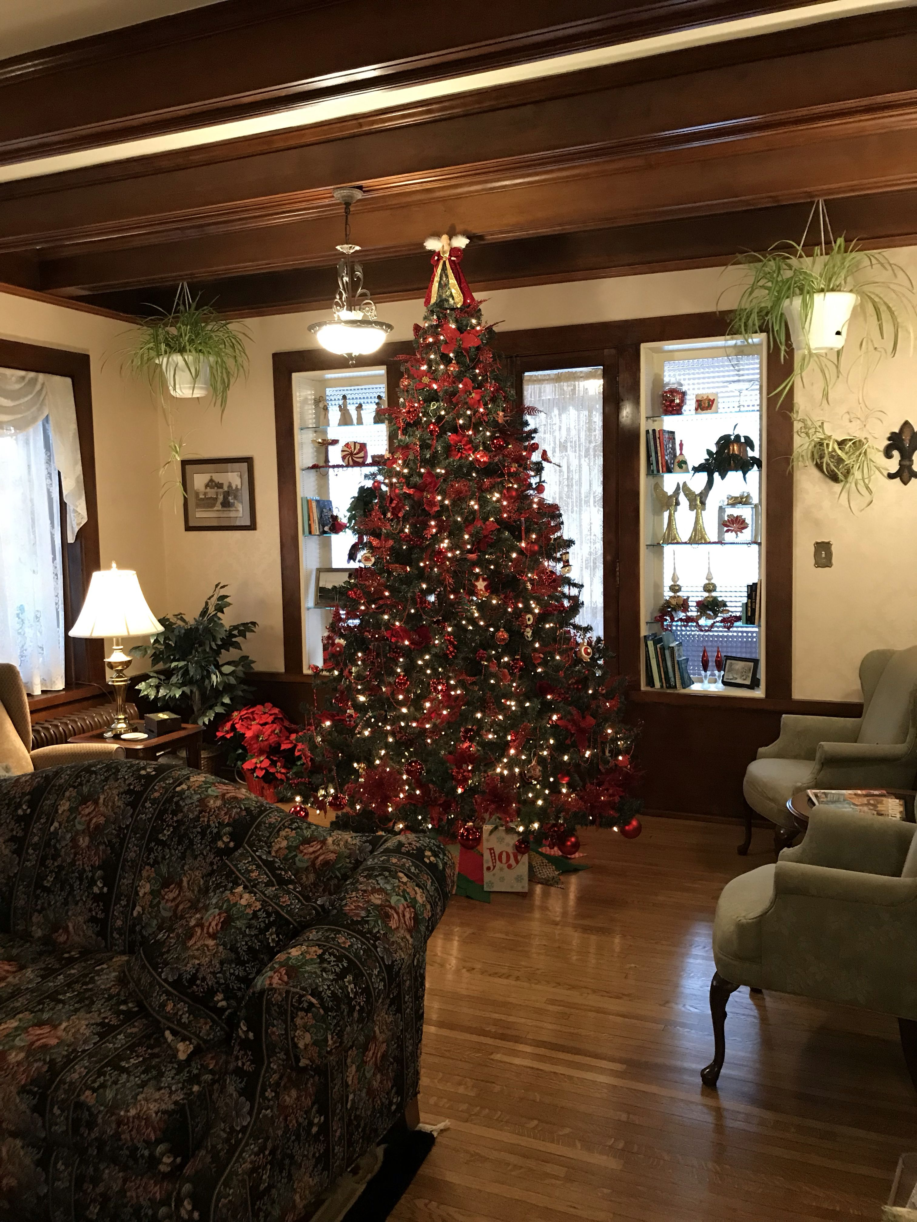 """The 9 foot red """"Joy"""" tree Holiday decor, Old world style"""