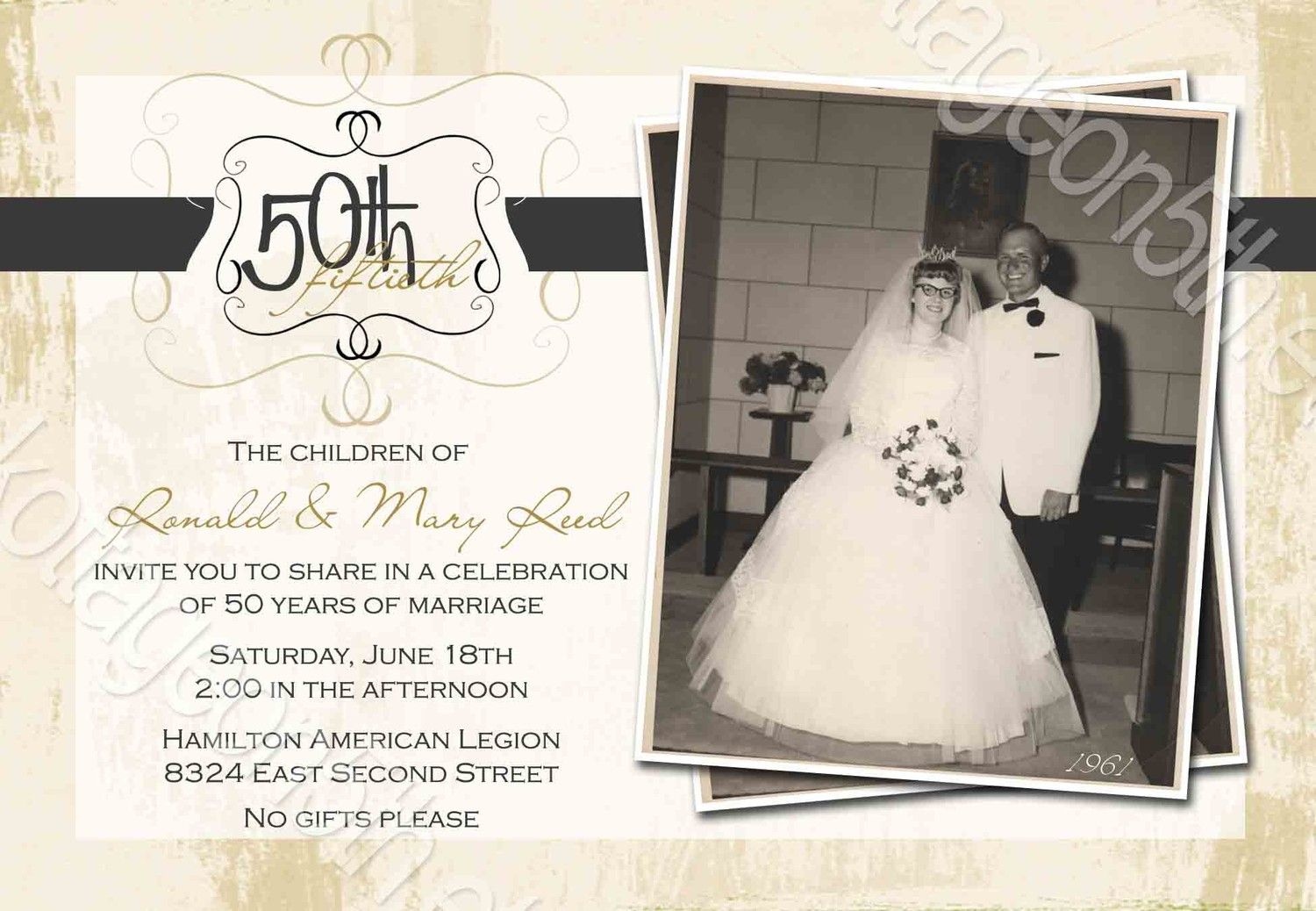 50th Wedding Invitation Templates: Free 60th Anniversary Invitation Templates