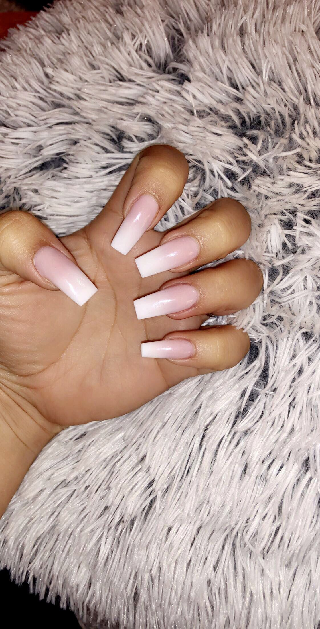 Square Narrow Acrylic Ombre Nails Pink Fade Into White Acrylicnailssquare Square Acrylic Nails Long Square Acrylic Nails Ombre Acrylic Nails