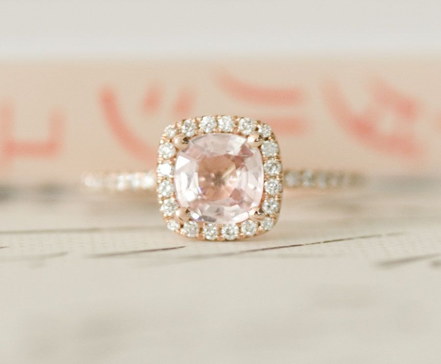 Diamond Peach Pink Cushion Shire Halo Engagement Ring