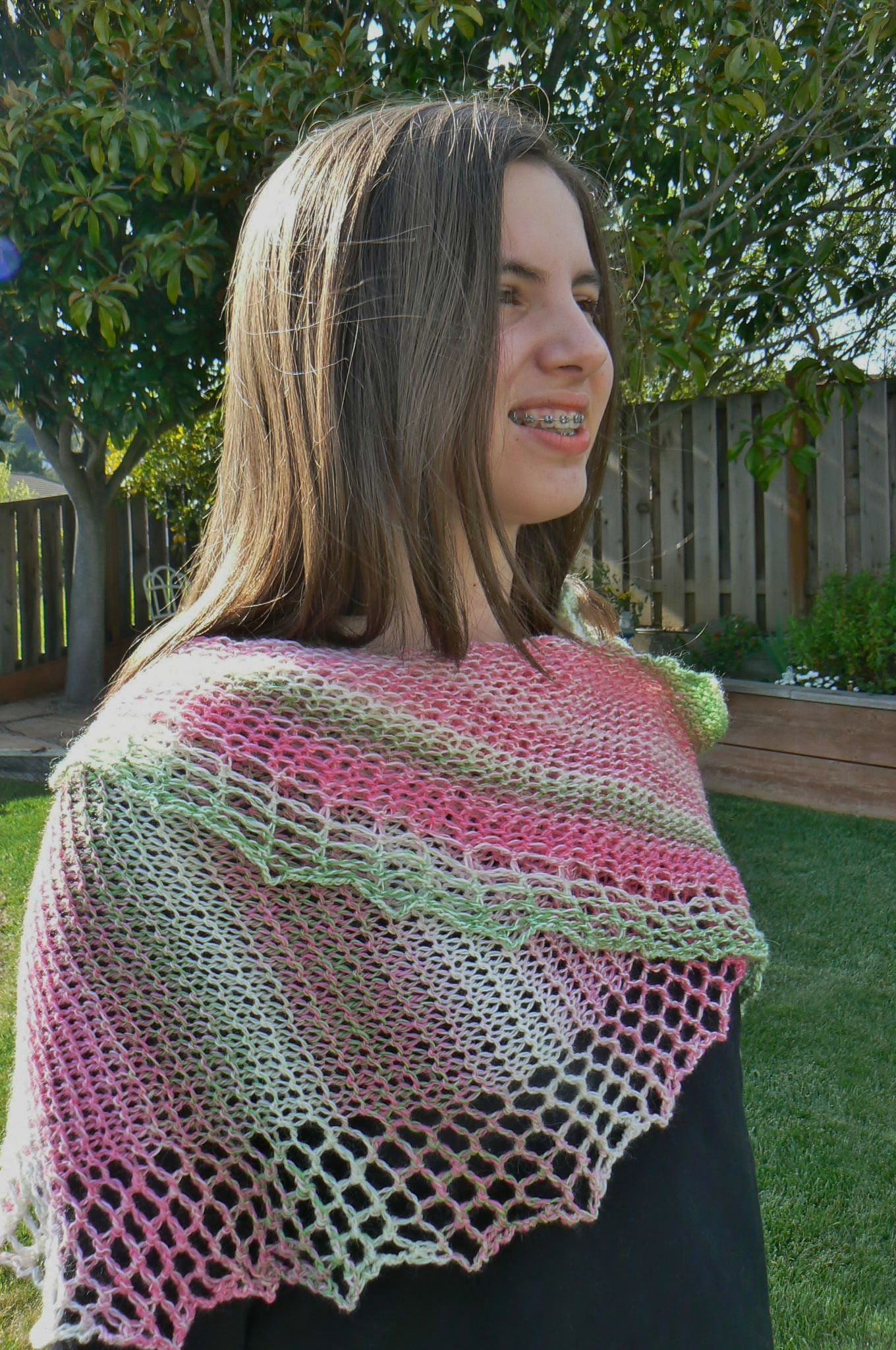 loom knit Venetian Lace Wrap, front view, loom knitting pattern from ...