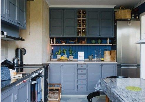 Black Cabinets And Blue Kitchen Walls  Elegant Blue Kitchen Endearing Blue Kitchen Design Decorating Design