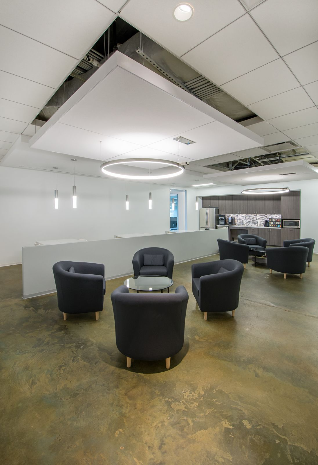 Galway Group Exposed ceiling large break room with collaborative