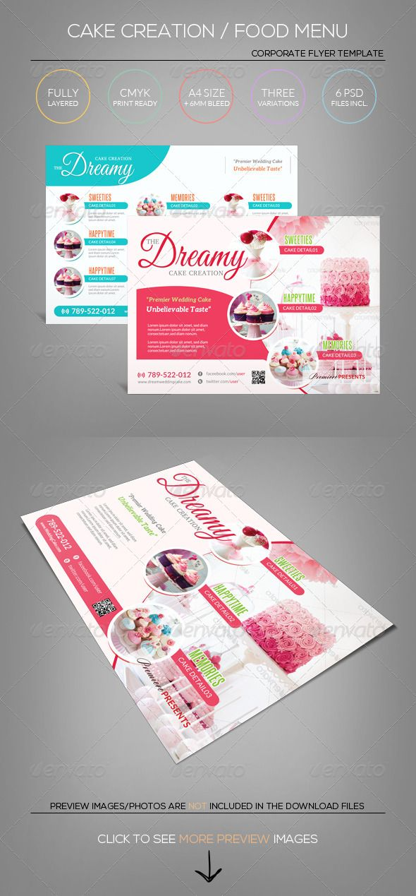 cake sweet icecream candy shop flyer template corporate