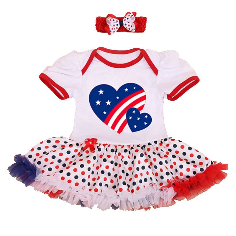 4th of July Newborn Kids Baby Girls Romper Tutu Dress Jumpsuit Clothes Outfits