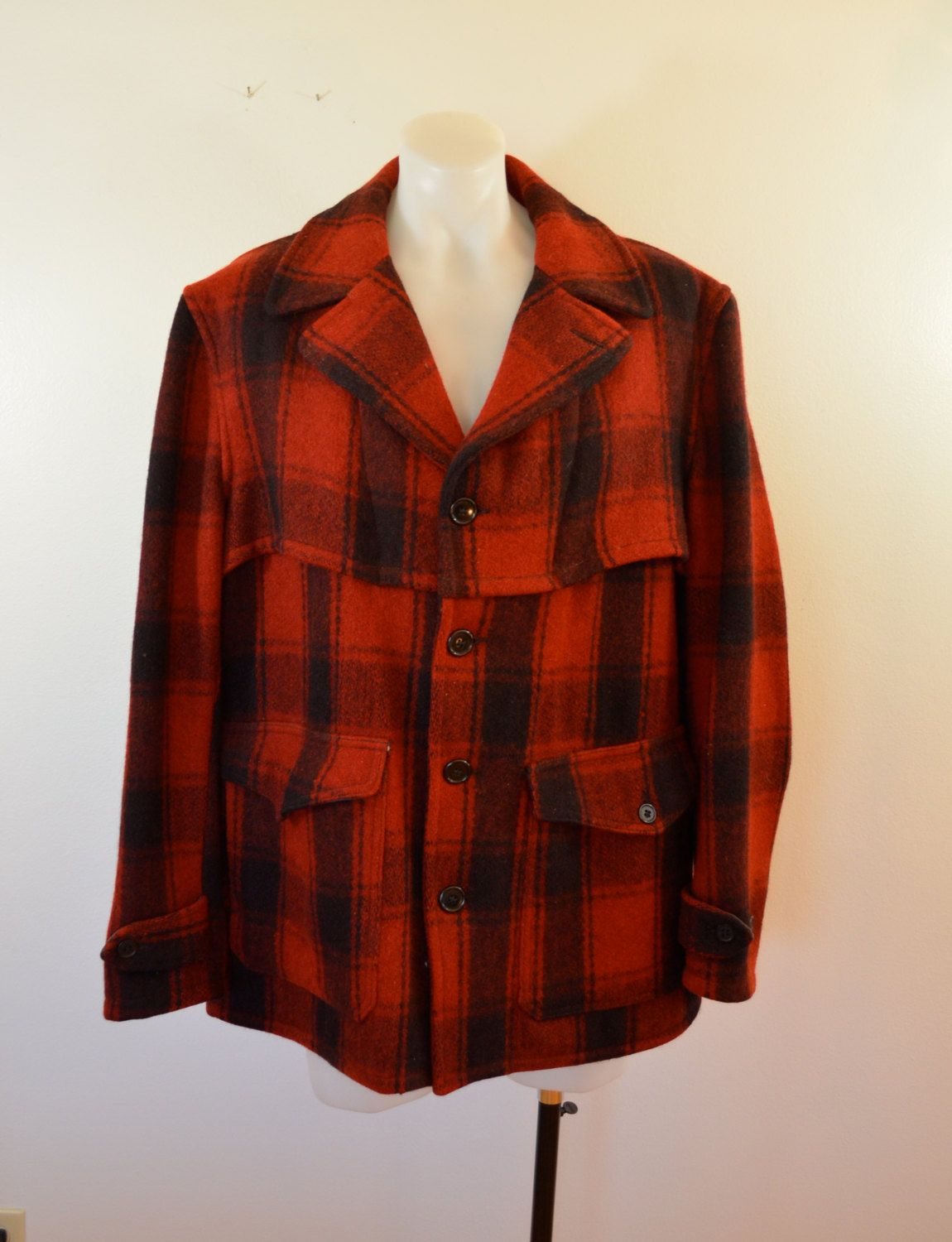 7256528b13e4d Vintage FOREMOST Wool Hunting Jacket coat 1950's Penneys USA size large RED  by ilovevintagestuff on Etsy