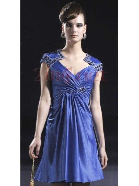 $152.29Beautiful Elegant Royal Blue Satin Boatneck Beading  Cut Out Prom Dresses #Short # #A-Line