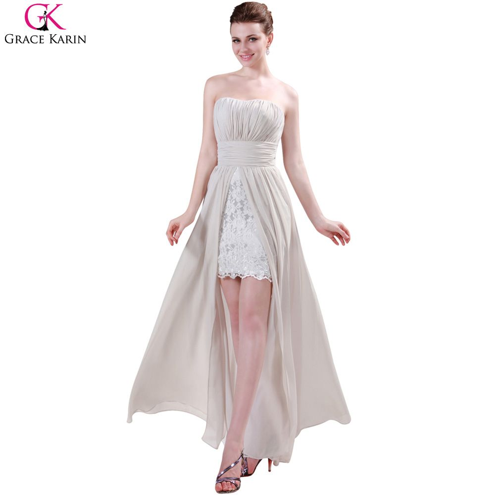 Best wedding dresses for short waisted  Free Shipping Buy Best Grace Karin Ivory High Low Lace Evening