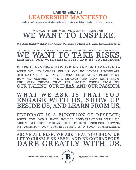 Image result for brene brown leadership manifesto