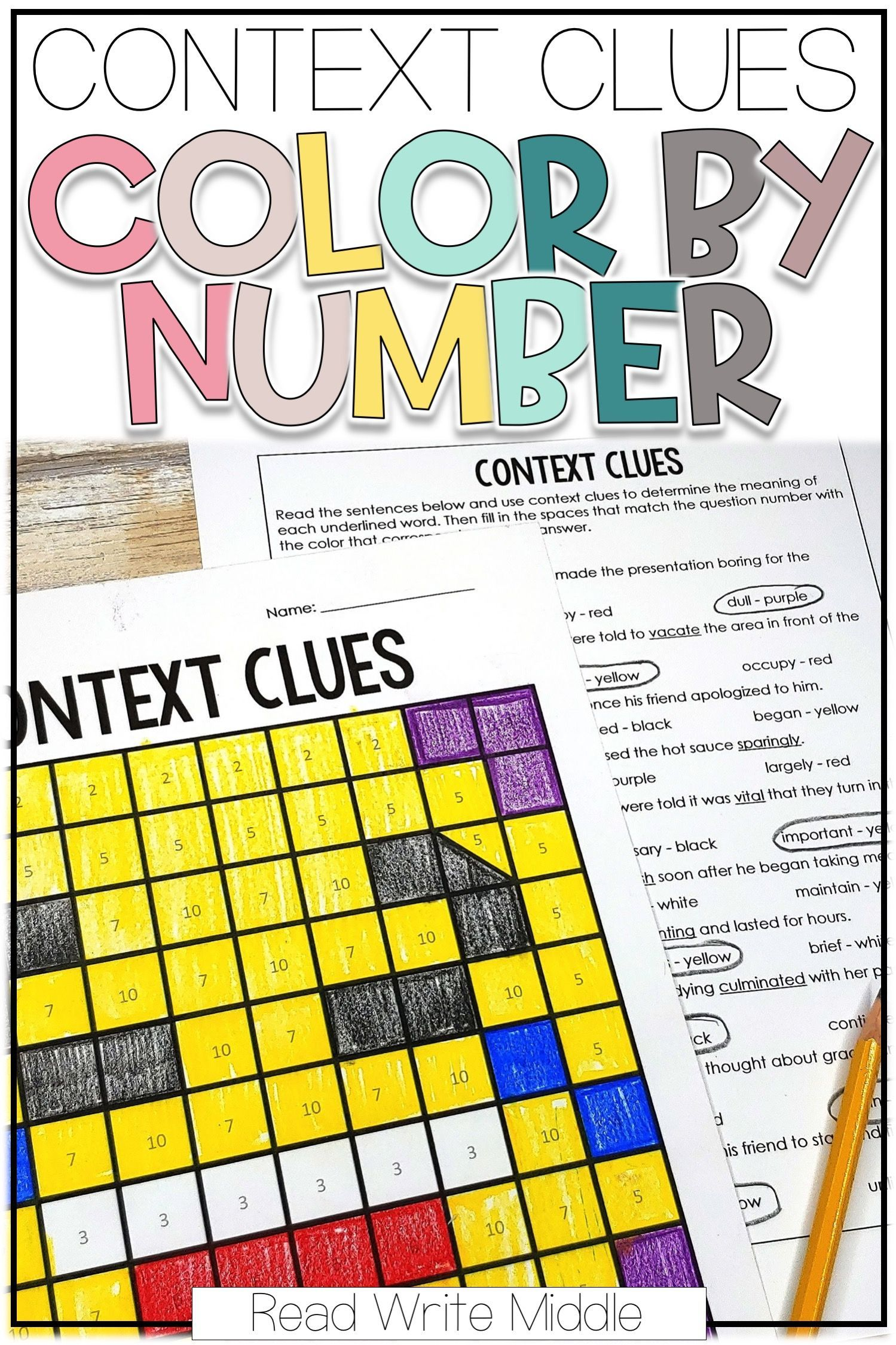 Acontext Clues Color By Number Bundle With Images