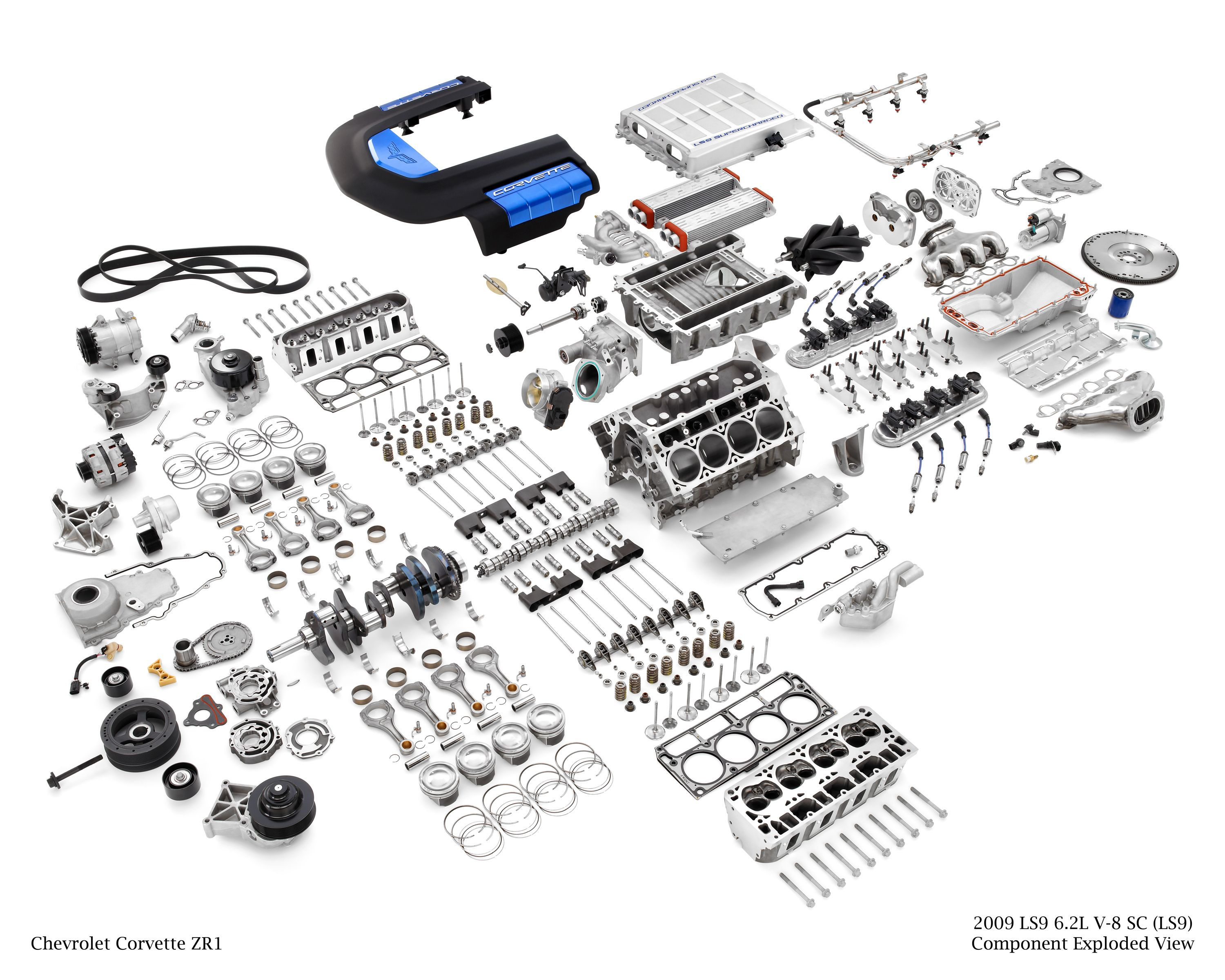 Corvette ZR1 LS9 Supercharged 6.2L V8 Engine, Exploded View