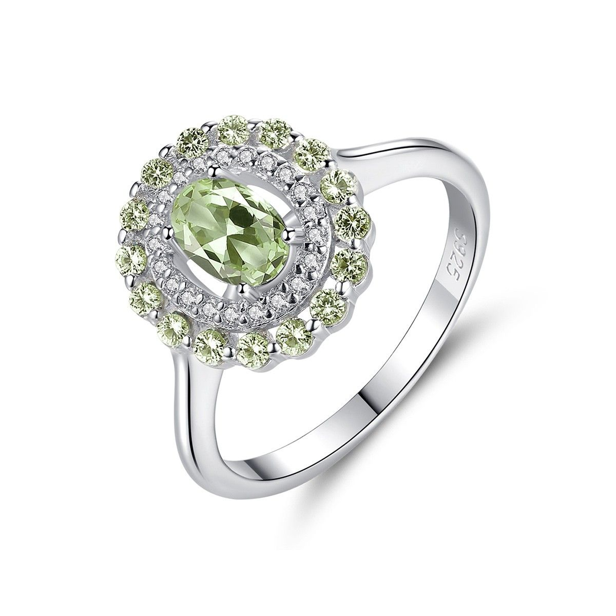 Green Amethyst Ring Vintage Halo Engagement Rings