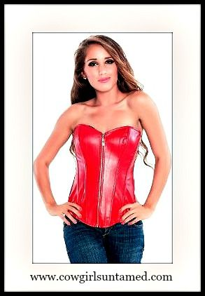 9140f1db64c4a VALENTINES DAY Red Faux Leather Sweetheart Neckline Lace Up Back and Boned  Western Corset Top USE CODE LOVE17 for FREE USA SHIPPING  corset  bustier  ...