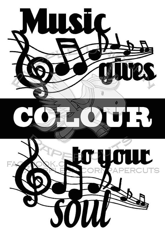 Music gives colour to your soul Paper Cut/ by PurpleUnicornCuts ...