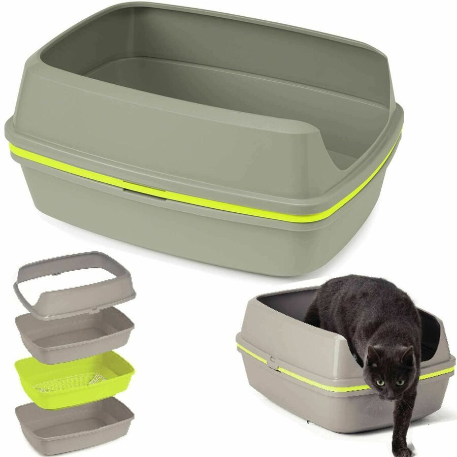 Cat Grey Scoopless Litter Tray Large Or Jumbo Sifting Toilet Box High Sided Xl Litter Tray Cat Pet Supplies Cat Supplies