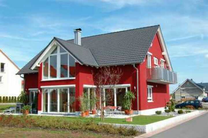 Red House Gray Roof Red House Exterior Outside House Paint House Exterior