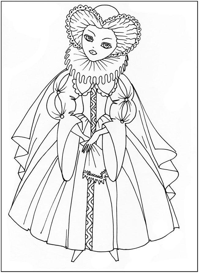 розмальовки для дівчат, Наряды разных времен, платье ...