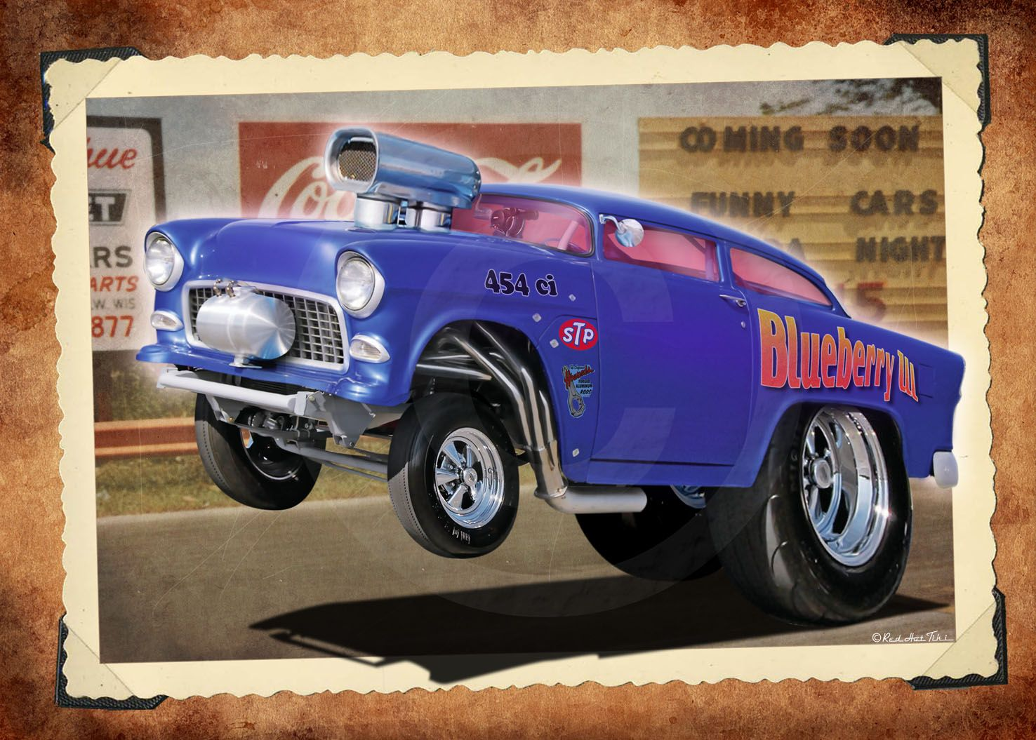 48 Anglia /& 55 Chevy Gasser Dragster Customized Pencil Drawing Print