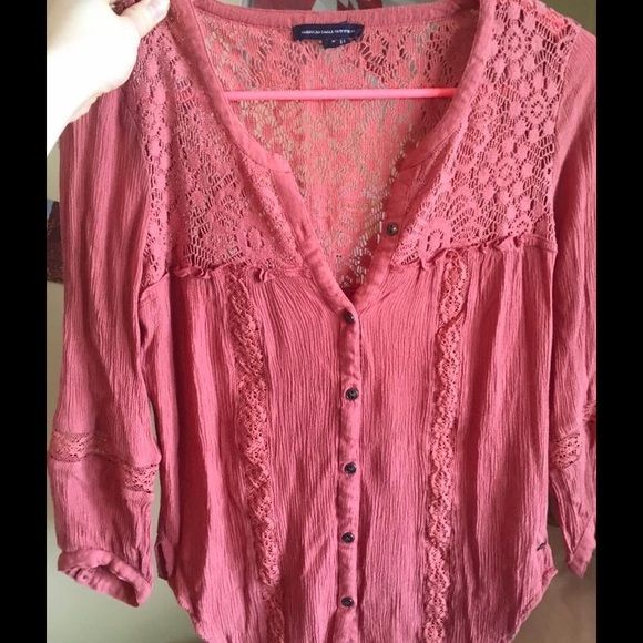 Peasant-style American Eagle blouse Flowy peasant blouse with 3/4 sleeves with lace and button details, pink-coral color (very similar to picture); only worn twice American Eagle Outfitters Tops Blouses
