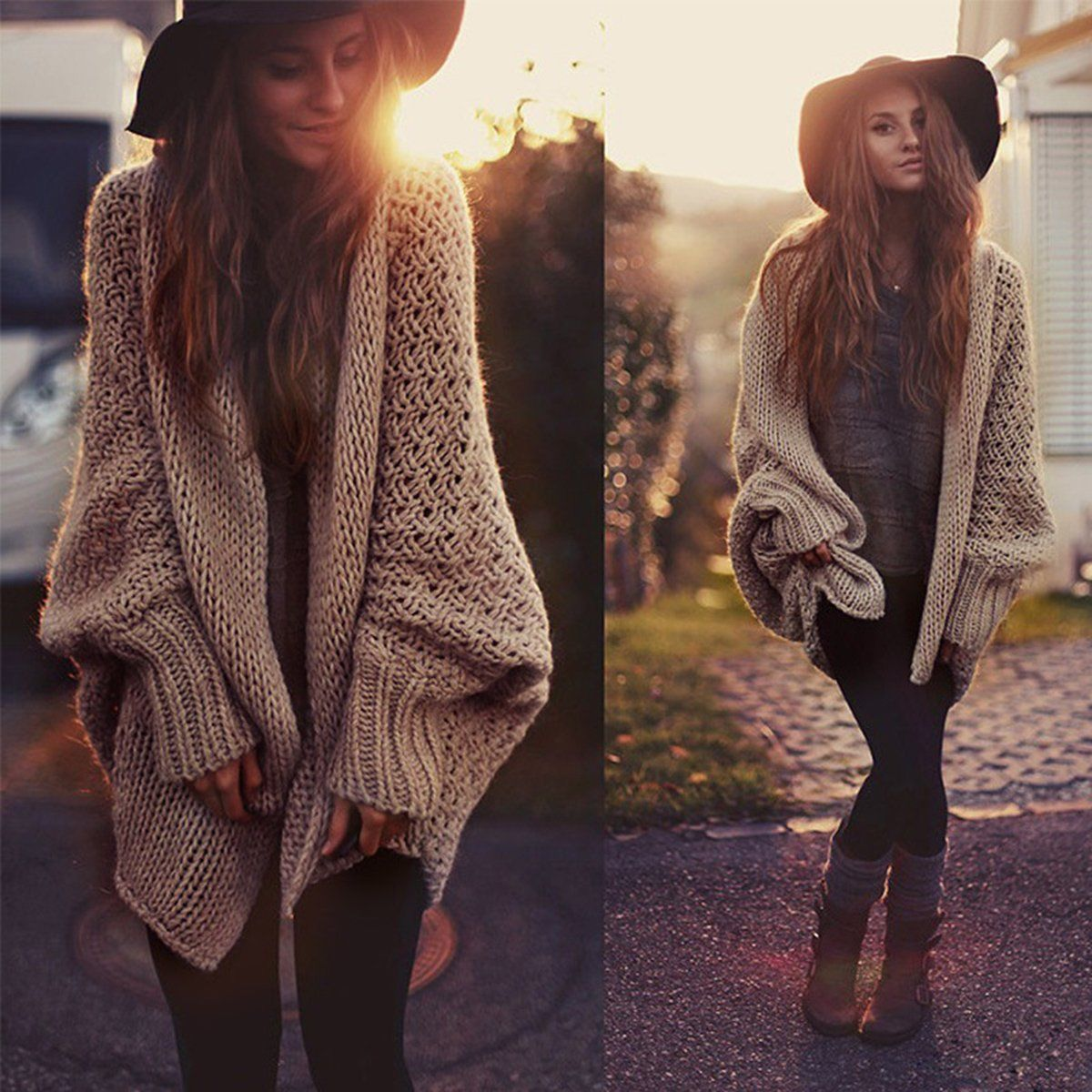 Women Oversized Batwing Sleeve Knitted Sweater Tops Loose Cardigan ...