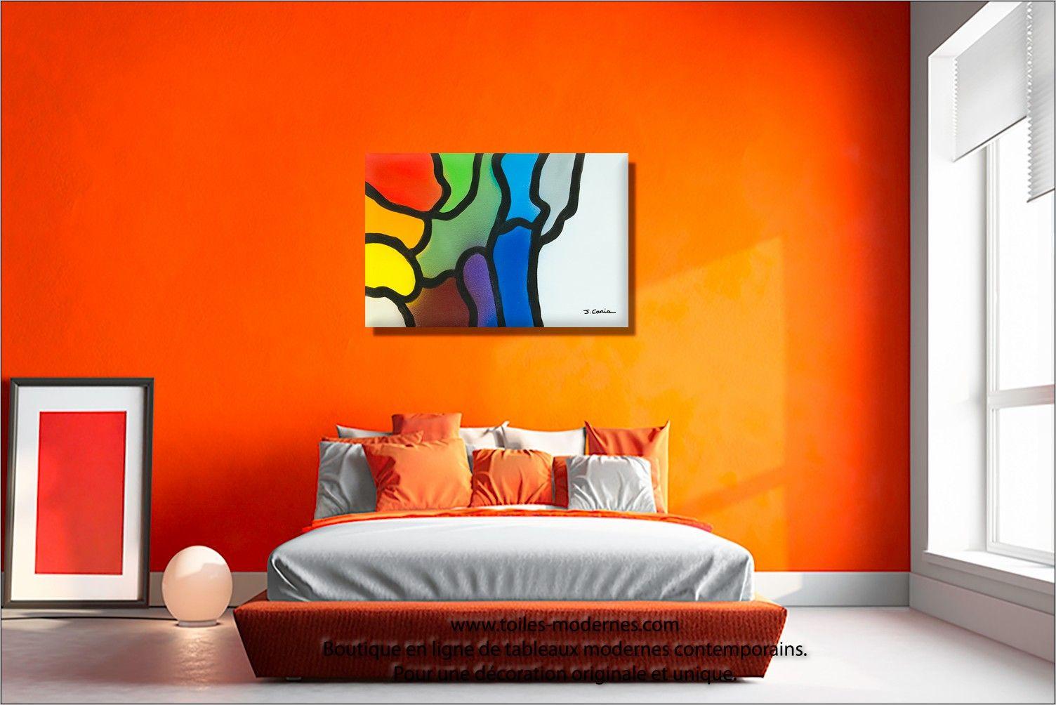 Cadre Peinture Deco Design Chambre  Déco chambre orange, Couleur