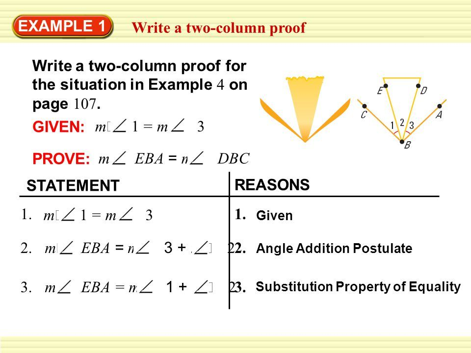 Example 1 Write A Two Column Proof Write A Two Column Proof For Writing Column Math