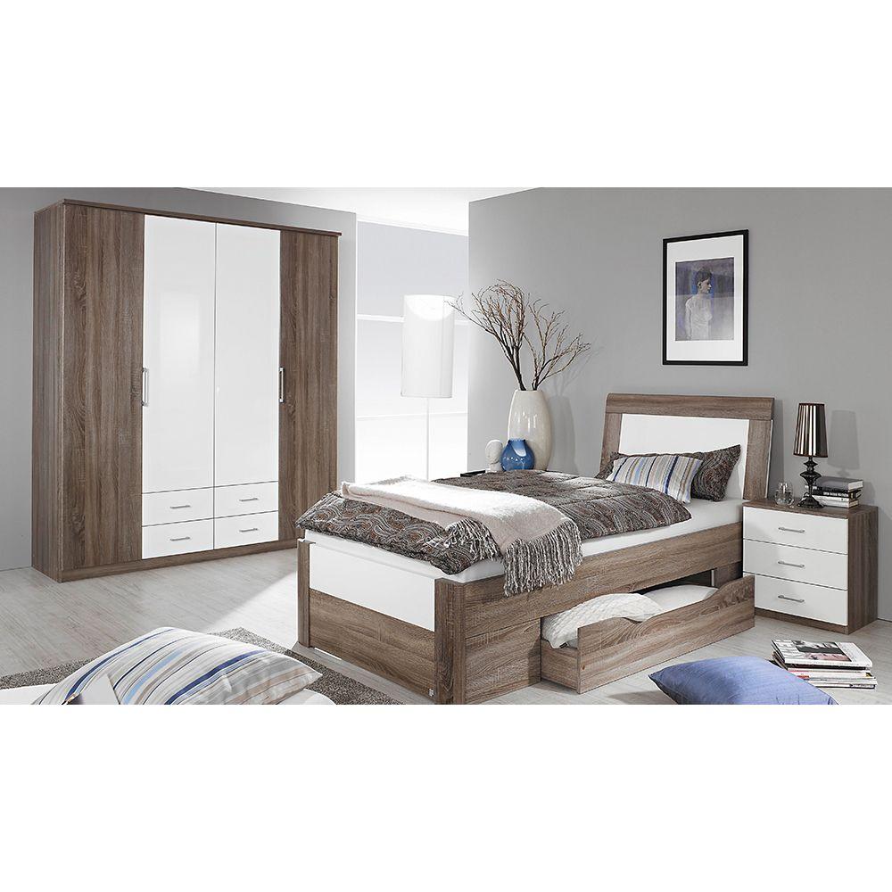 Schlafzimmer Set Arona 3tlg. 100x200 Eiche Havanna