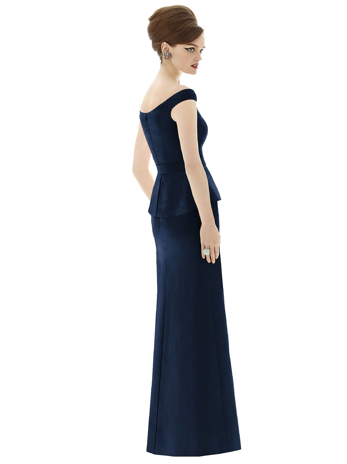 Midnight blue bridesmaid dress with peplum right on trend alfred