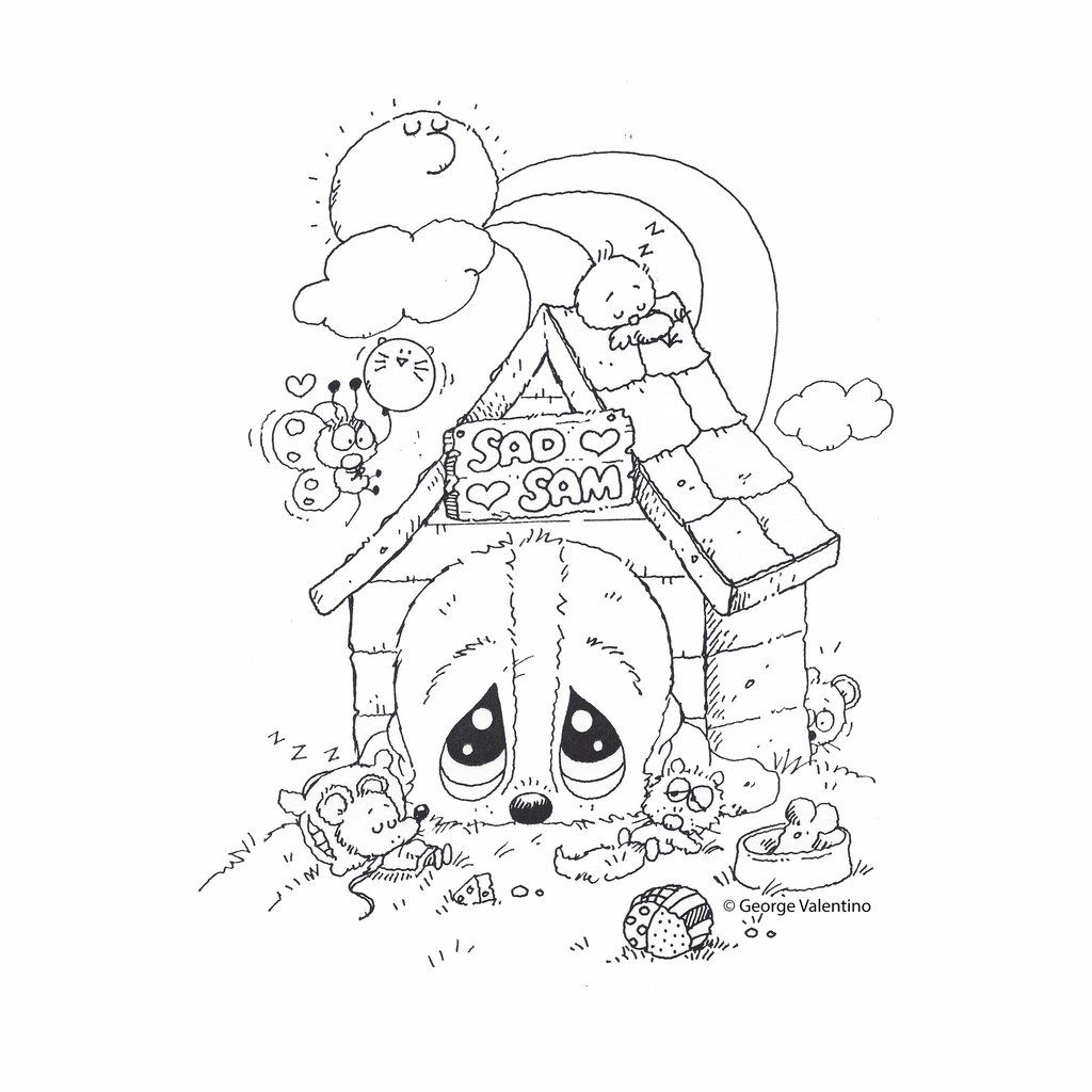 Dog House Coloring Book Page | Giordano Sad Sam | Pinterest | House ...