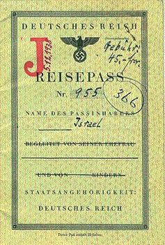 "Inside pages of the passport (No. 4), showing the letter J (Jude) and the name ""Israel"", 1938 In August 1938, the German authorities decreed that Jewish men and women with first names of ""non-Jewish"" origin had to add ""Israel"" and ""Sara"" respectively to their names. All Jews had to carry identity cards indicating their Jewish origin, and, in the autumn of 1938, all Jewish passports were stamped with an identifying letter ""J""."