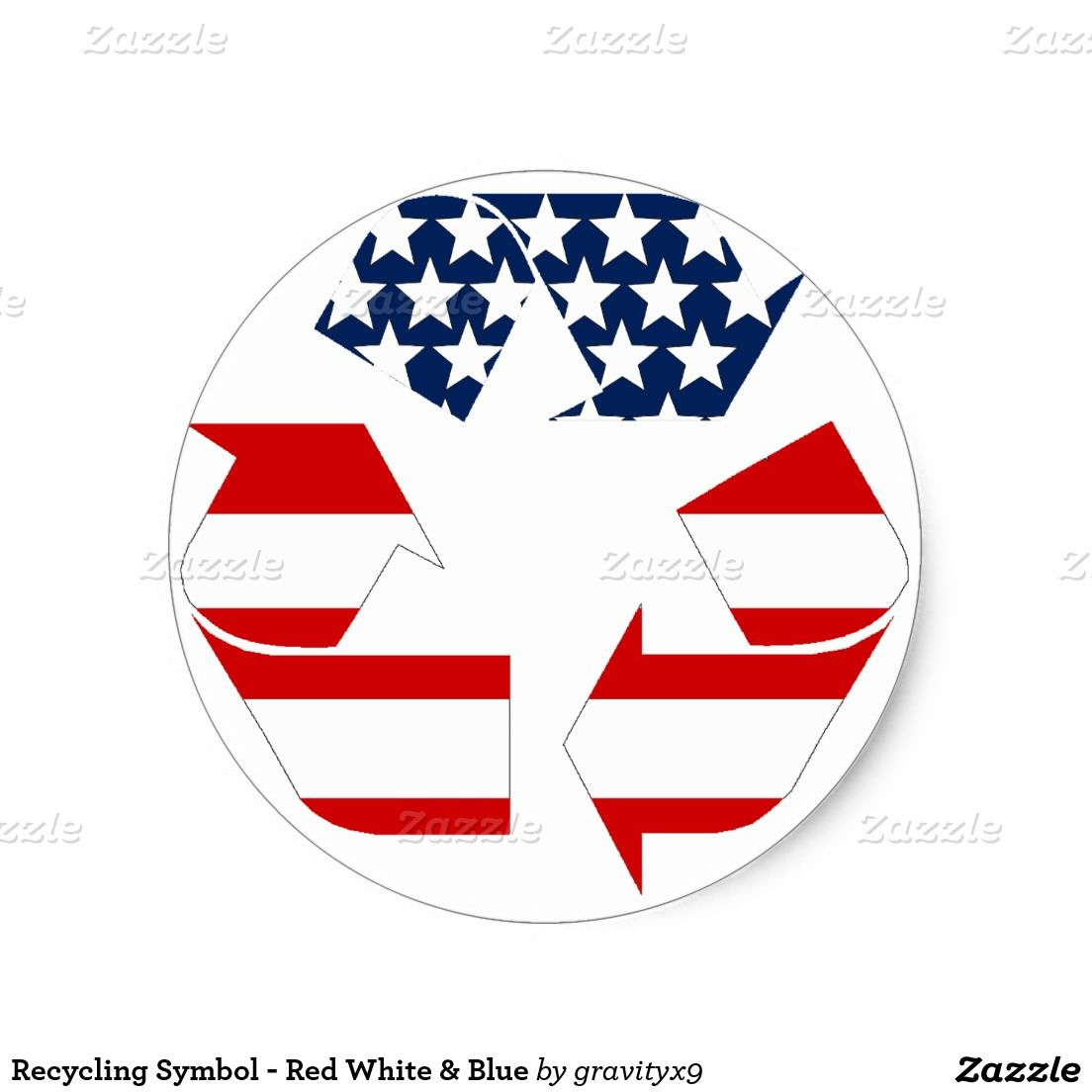Recycling Symbol Red White Blue Classic Round Sticker Gravityx9