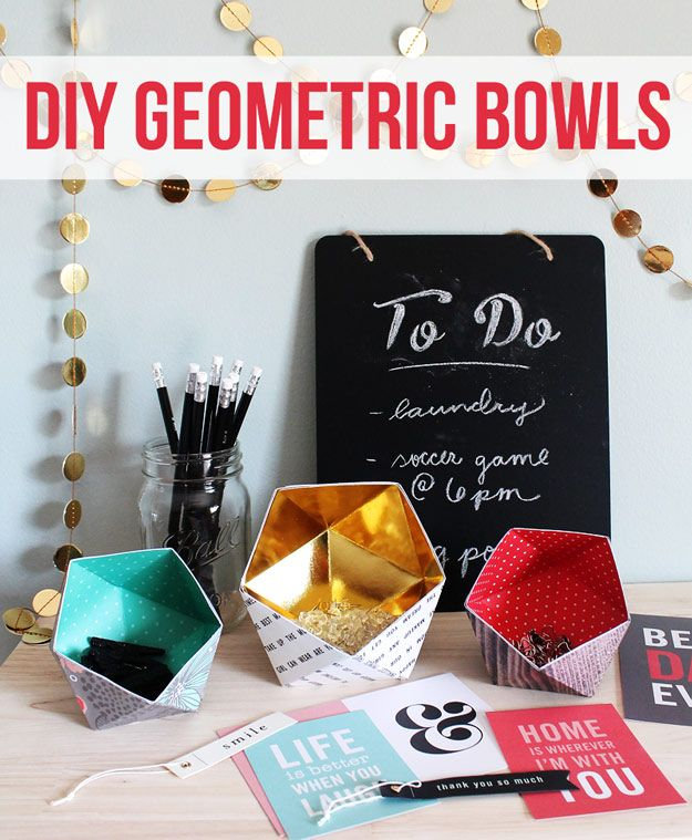 47 fun pinterest crafts that arent impossible frascos algn da cool diy ideas for fun and easy crafts diy geometric bowls awesome pinterest diys that are not impossible to make creative do it yourself craft solutioingenieria Images