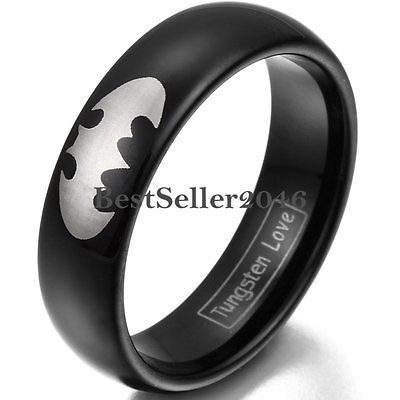 JewelryWe 6mm Men Ladies Black Tungsten Carbide Ring with Silver Laser Etched Batman Symbol Collector's Engagement Wedding Band SZM4rnuI7a