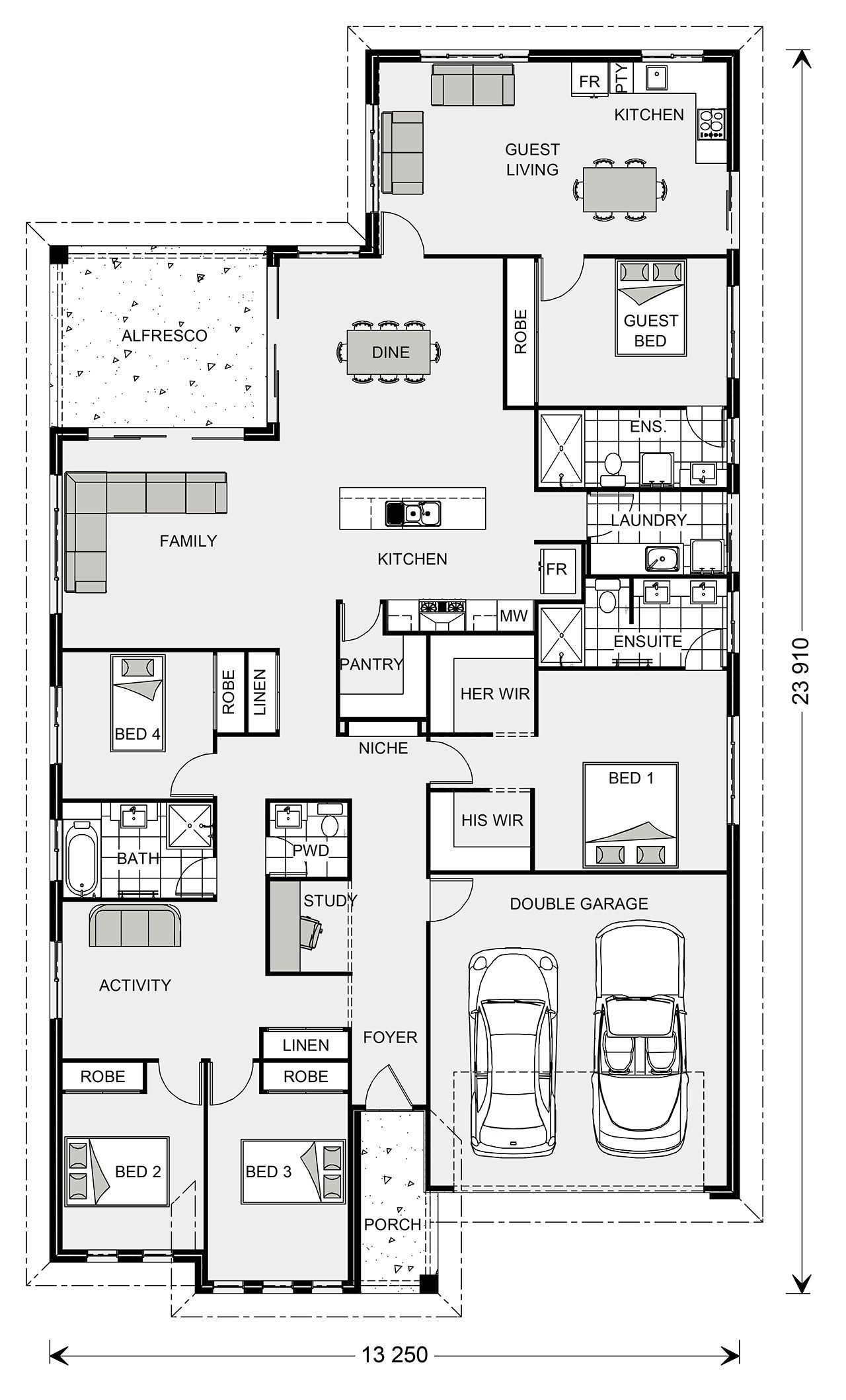 Gj Gardner Single Story House With Attached Granny Flat Floor Plan House Plans One Story Multigenerational House Plans House Plans Australia