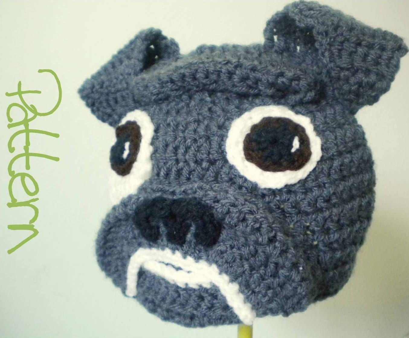 4fb3869052a Crochet Hat Pattern - Crochet Bulldog Animal Beanie with Floppy Ears ...
