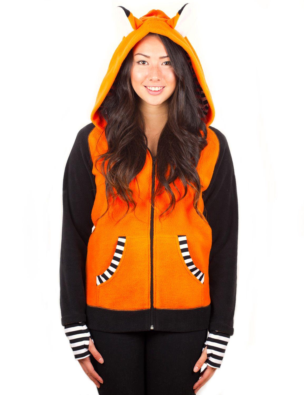 1ecccdf58 Orange Fox hoodie with Striped Cuff | Crazyheads Fleece Jackets | Punch  Brand