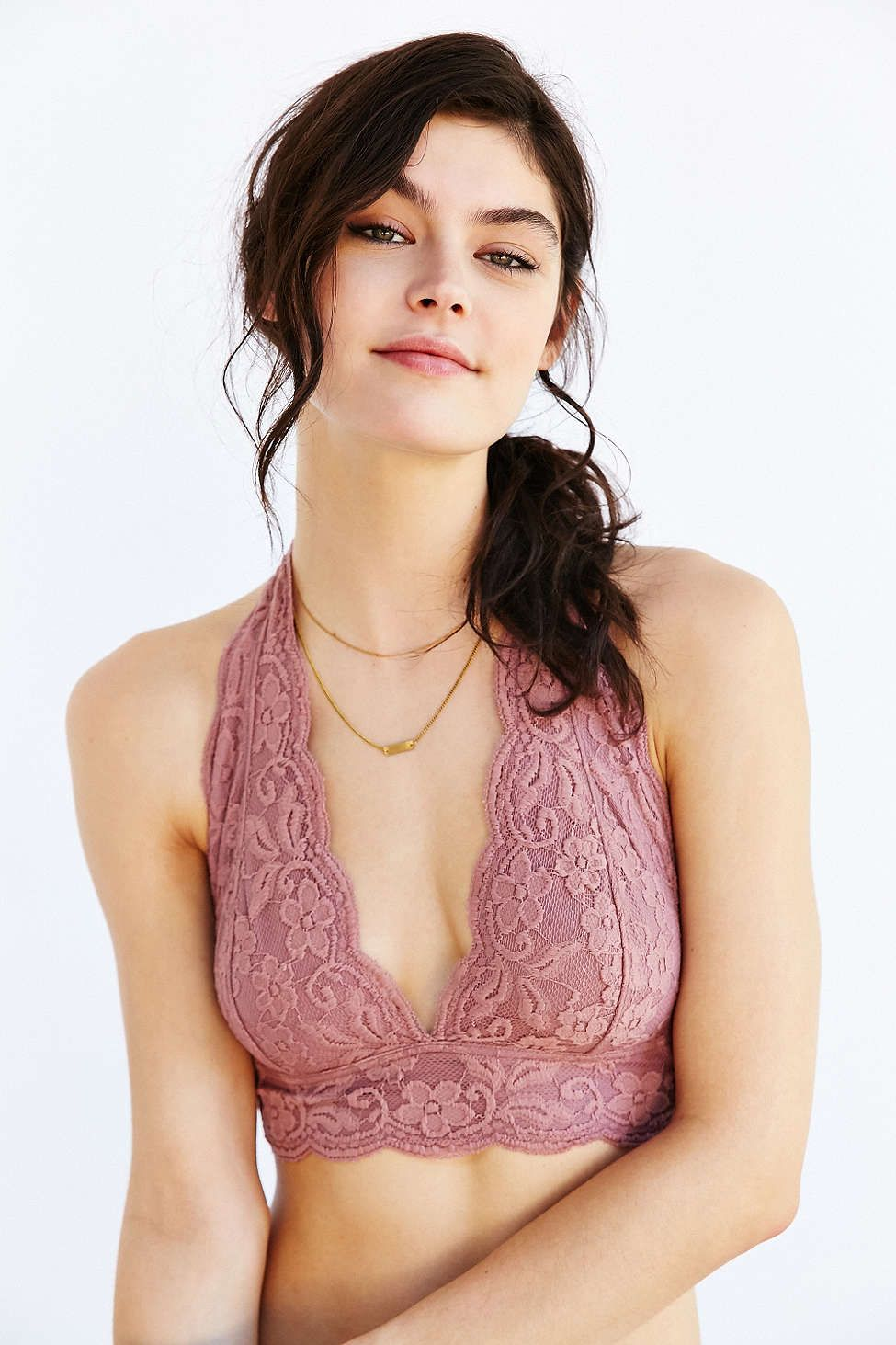 6588e8d5e1 Pins And Needles Lace Halter Bra - Urban Outfitters