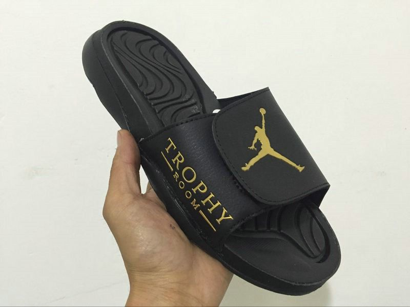 info for abaac b2801 2018-2019 Summer Authentic Official mens off-white trophy Air Jordan Hydro  4 sandals black-golden Big Size 13