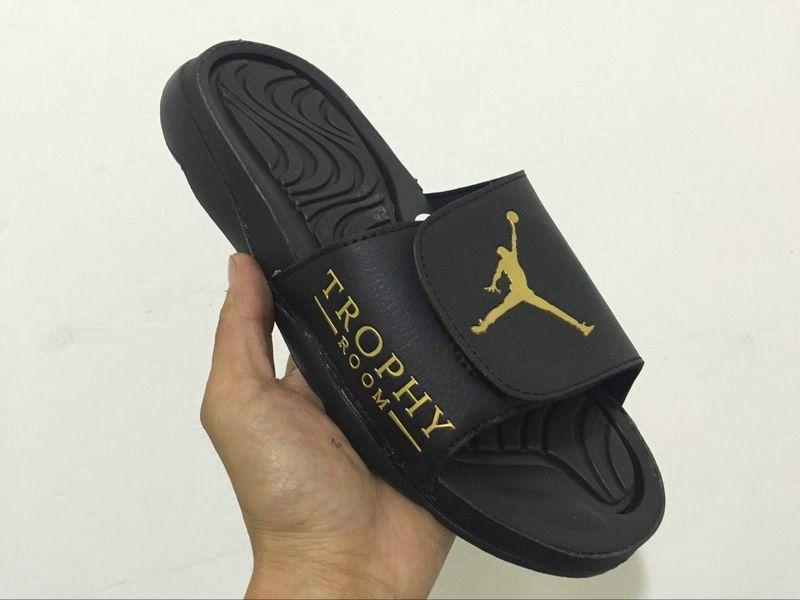 c11ffb2159e03 2018-2019 Summer Authentic Official mens off-white trophy Air Jordan Hydro  4 sandals black-golden Big Size 13