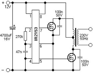 Простой преобразователь 12-220 вольт 50 герц на IR2153
