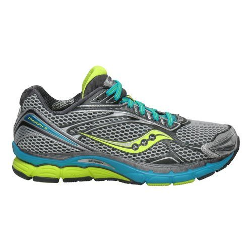 Women's Saucony PowerGrid Triumph 9 Running Shoe - Silver/Citron 7