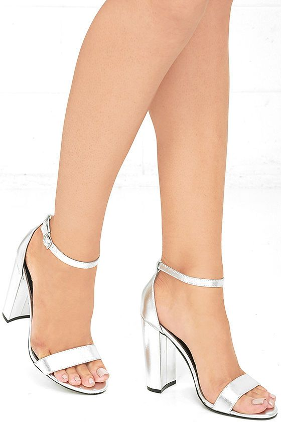 Carrson Silver Leather Ankle Strap Heels