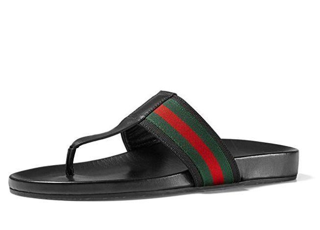 Gucci Mens Web Strap Black Flip Flop Sandals Size 115