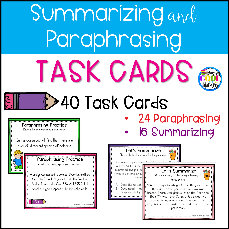 Summarizing And Paraphrasing Task Card Informational Text Practice Quoting Worksheet