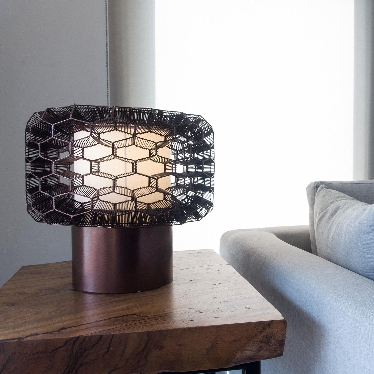 The Honeycomb Led Table Lamp Is Handmade In The Philippines From Galvanized Iron A Malleable Material Which Allows Artisans To With Images Led Table Lamp Lamp Table Lamp
