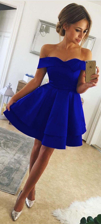 85d3bd527865 Short Satin V Neck Off-The-Shoulder Homecoming Dresses Royal Blue Prom  Cocktail Dresses