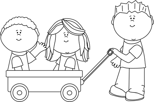 Black And White Kids With Wagon Clip Art Black And White Kids With Wagon Image Digital Stamps Clip Art Space Party Decorations