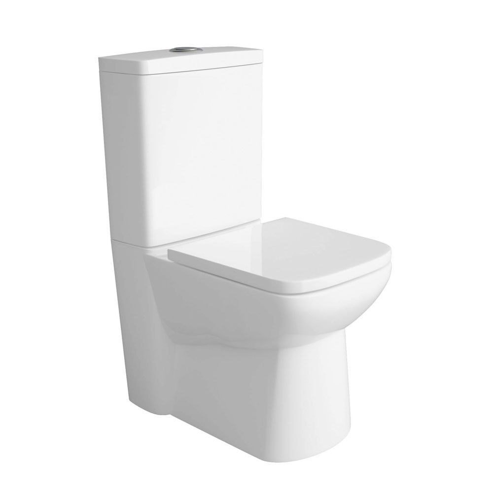 Premier Ambrose Compact Flush To Wall Toilet with Soft Close Seat ...
