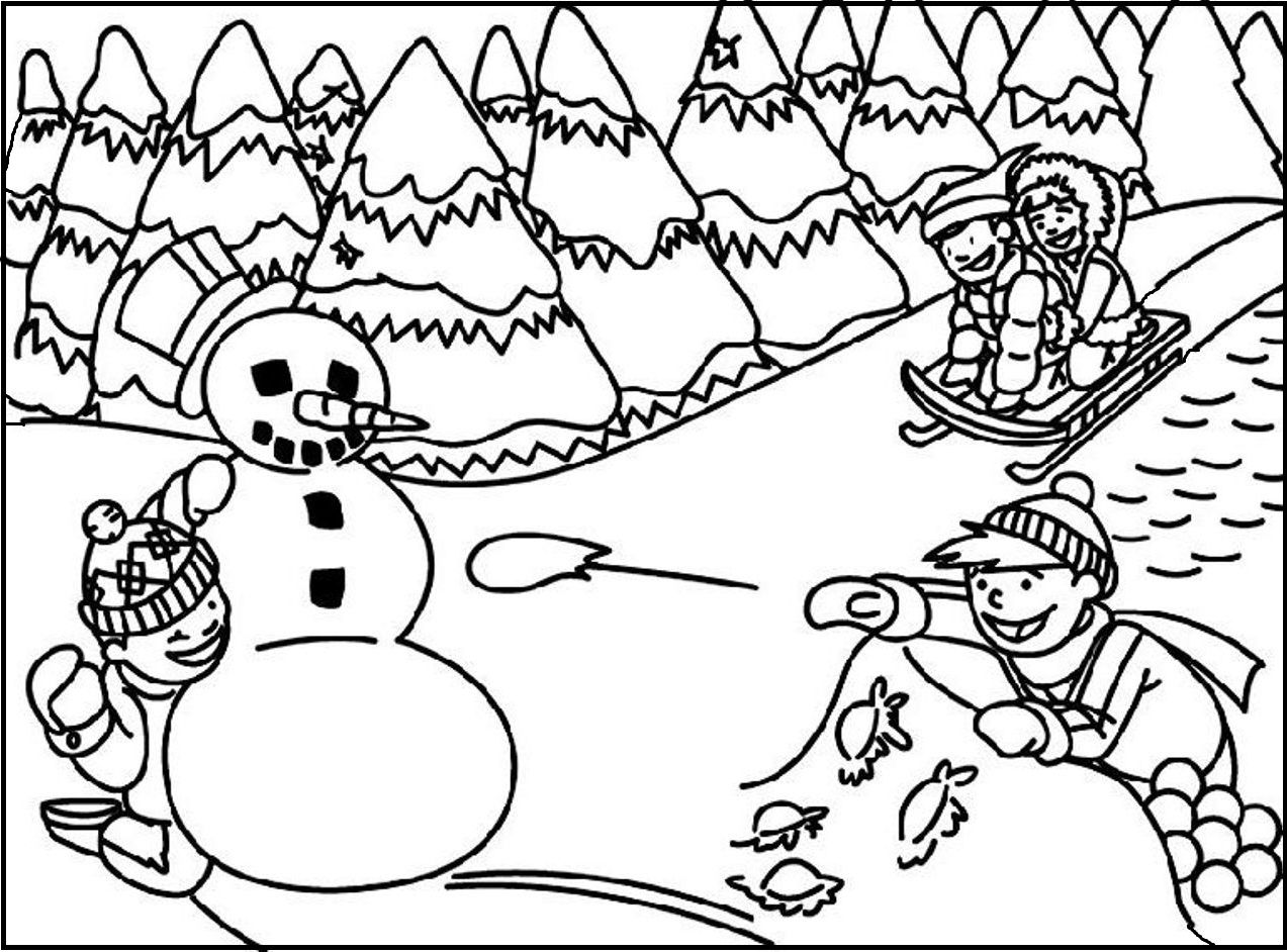 The Fierce Battle Snowball coloring picture for kids | Winter ...